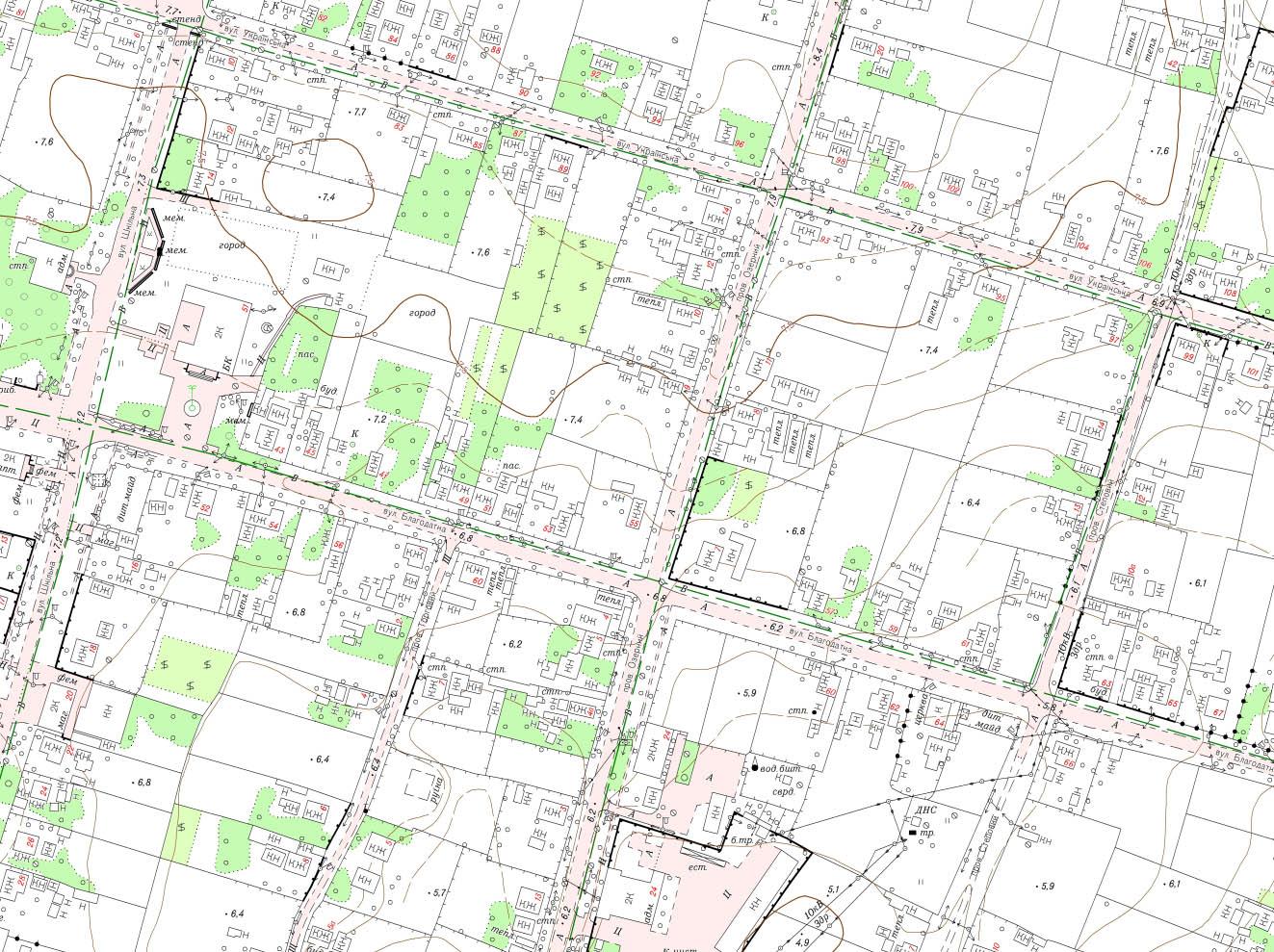 Фрагмент топографічного плану М1:2000 с. Бехтери