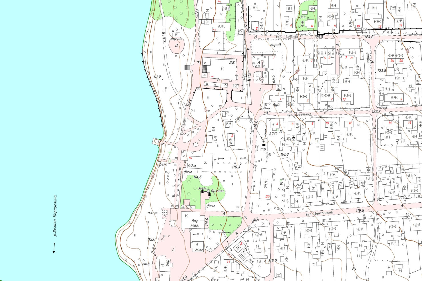 Фрагмент топографічного плану М1:2000 с. Воєводське
