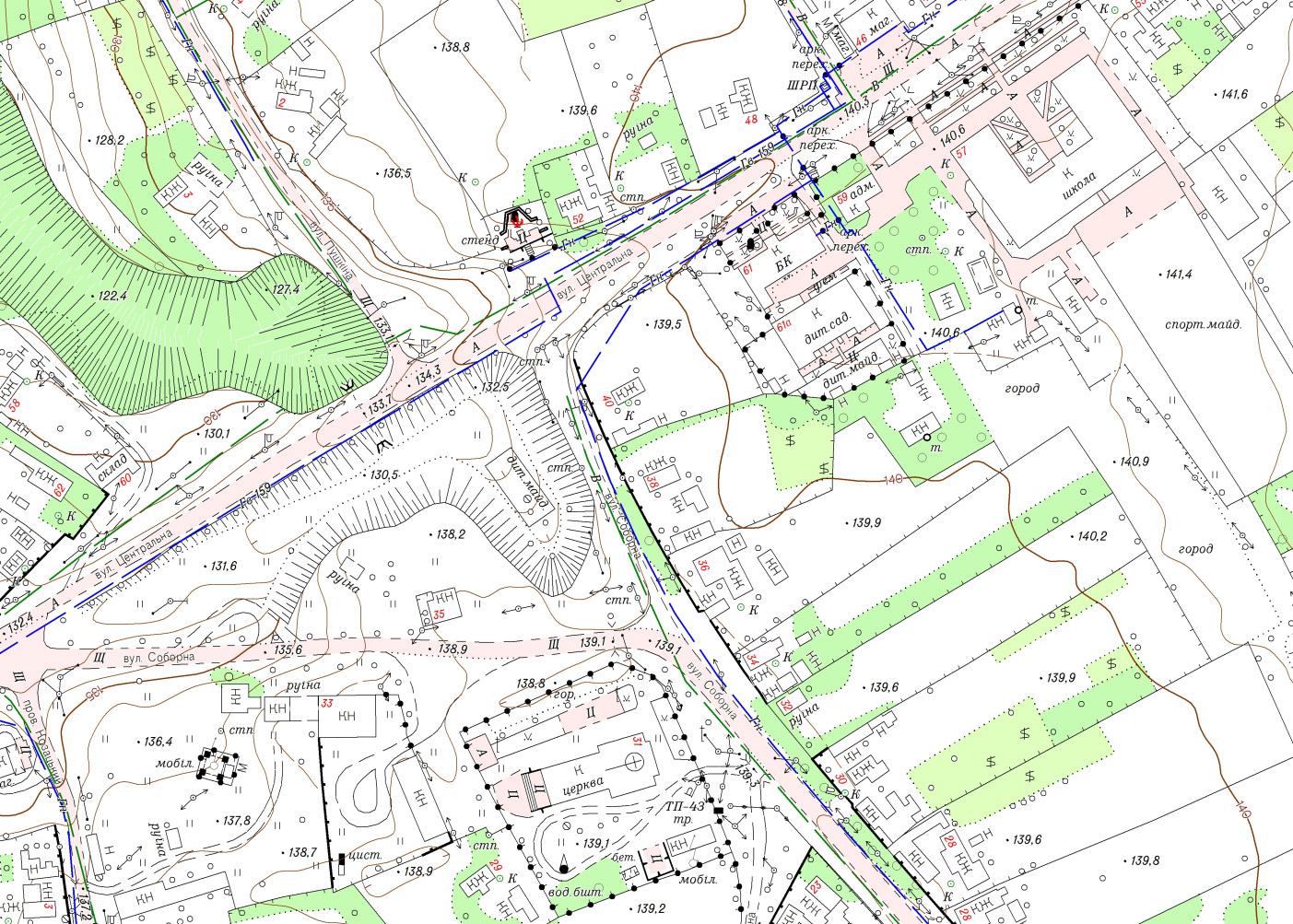 Фрагмент топографічного плану М1:2000 с. Гребеники Великомихайлівського району