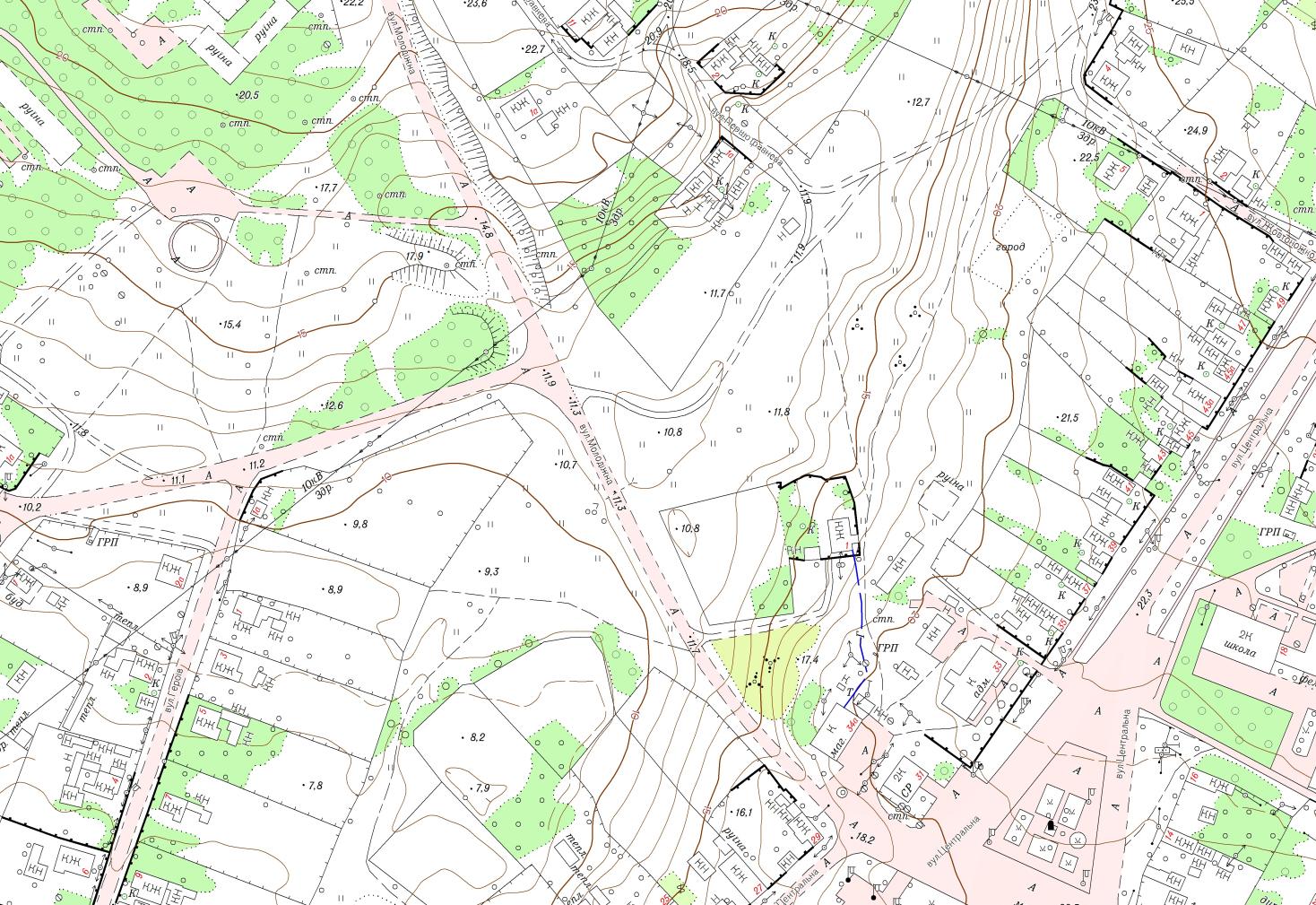 Фрагмент топографічного плану М1:2000 с. Гур'ївка Новоодеського району Миколаївської області