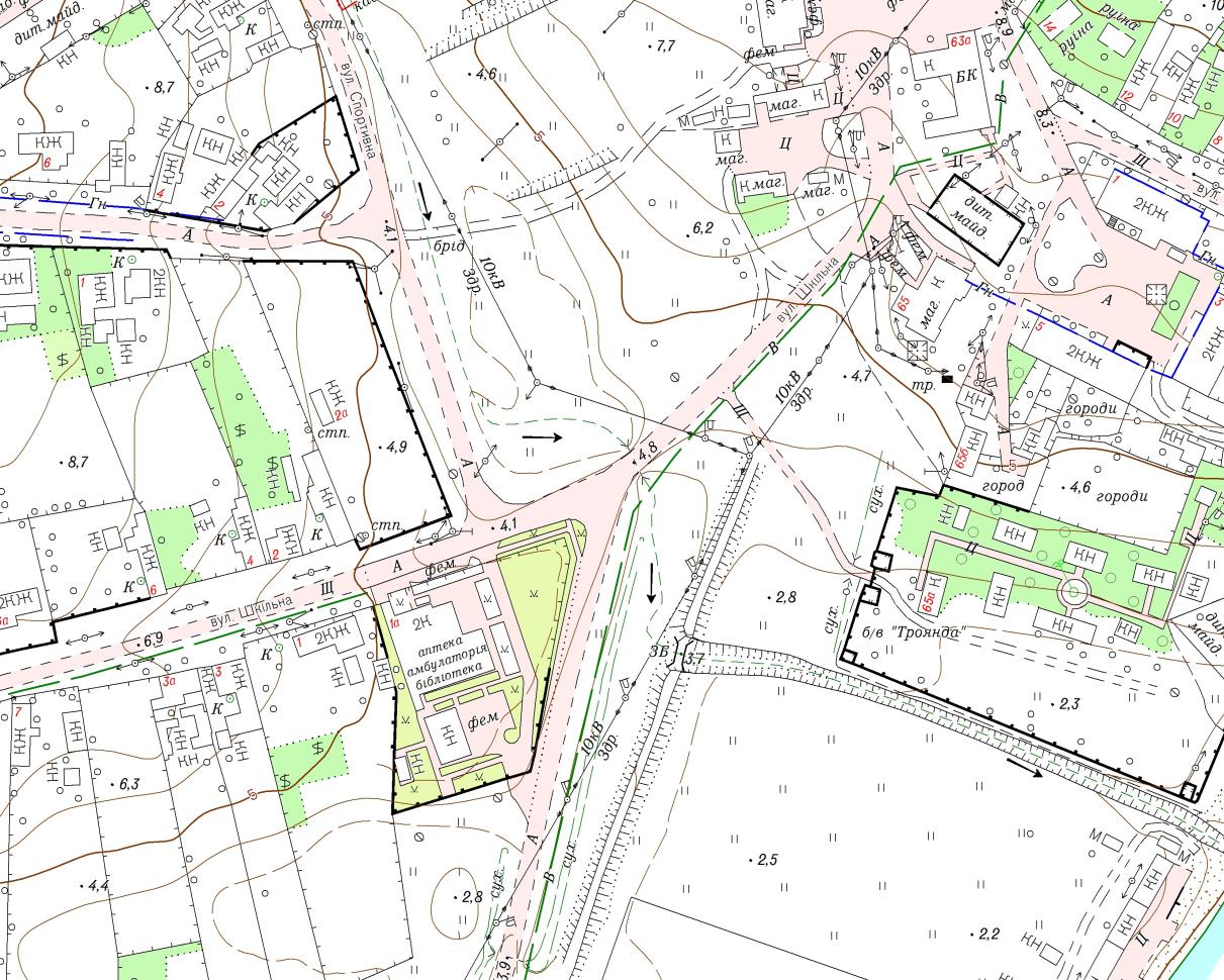 Фрагмент топографічного плану М1:2000 с. Рибаківка Березанського району Миколаївської області