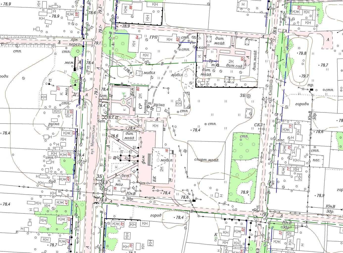 Фрагмент топографічного плану М1:2000 с. Кочубеївка Високопільського району Херсонської області