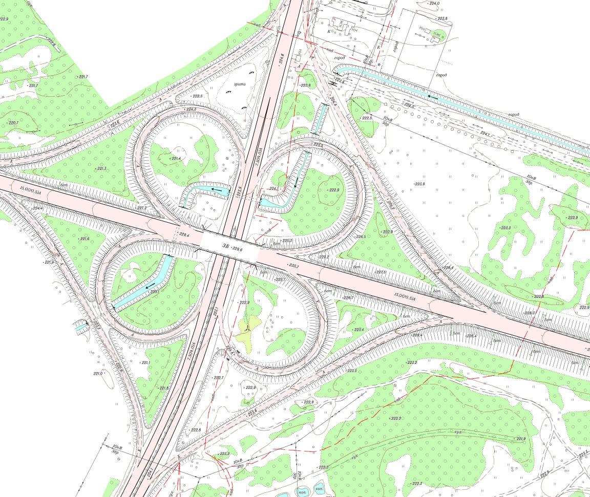Фрагмент топографічного плану М1:2000 с. Оліївка Житомирського району Житомирської області