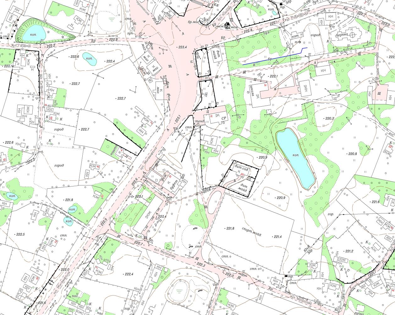 Фрагмент топографічного плану М1:2000 с. Троковичі Черняхівського району Житомирської області