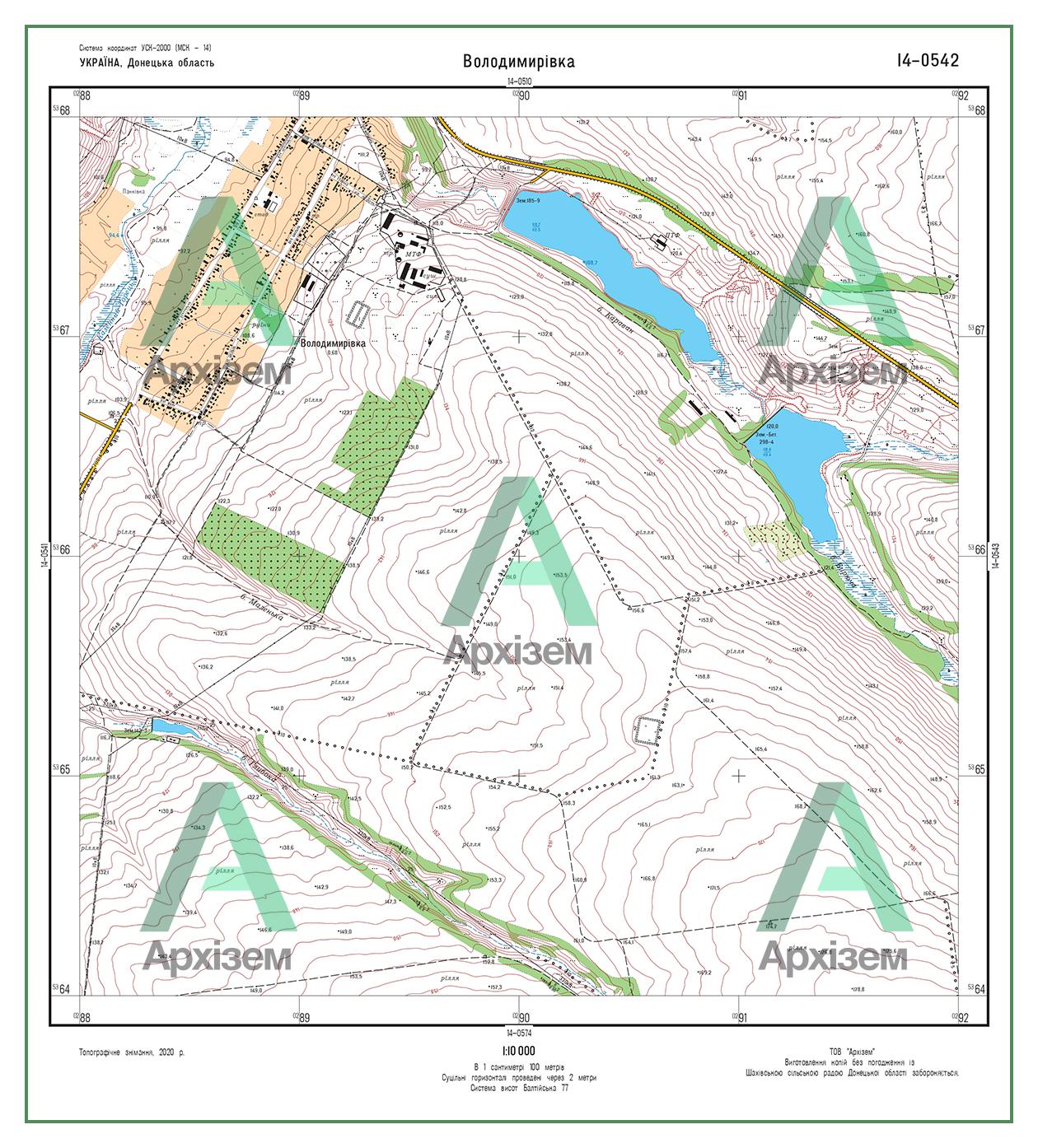 Шахово топографическая карта